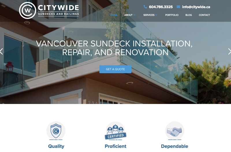 Pitch Perfect Creative client - CITYWIDE SUNDECKS & RAILINGS Vancouver, BC